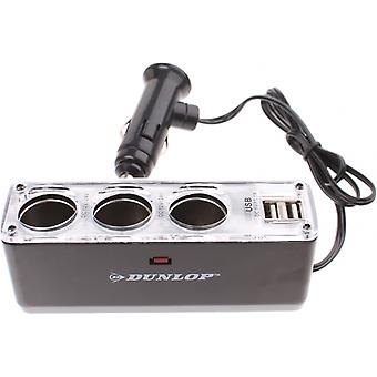 3-way splitter 12/24 Volt with two USB ports black