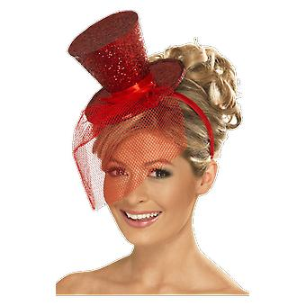 Red Glitter Mini Top Hat Headband Fancy Dress Costume Accessory