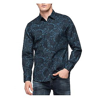 Replay Jeans Replay Paisley Shirt Blue