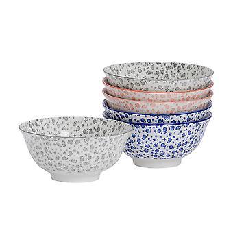 Nicola Spring 6 Piece Daisy Patterned Cereal Bowl Set - Porcelain Breakfast Dessert Serving Bowls - 3 Colours - 16cm