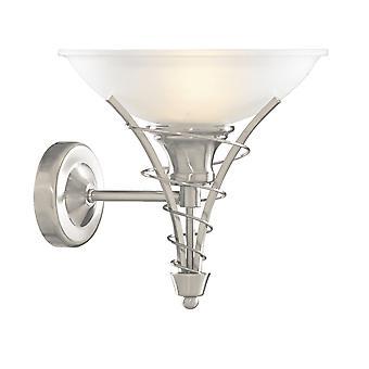 Searchlight Linea Satin Silver Wall Ljus med Twist Centre och Dome Opal Glas