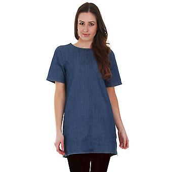 Korte mouw denim tuniek jurk - mid-blauw