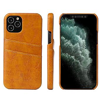 Pour iPhone 12 Pro/12 Case Deluxe Leather Portefeuille Arrière Shell Slim Cover Jaune