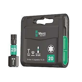 Wera Bit-Box 15 Impaktor TX20 x 25mm 15 Pièce WER057772