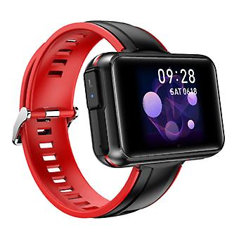Lemfo T91 Smartwatch Wide Display with Wireless Earpieces - 1.4 Inch Screen - Smartband Fitness Tracker Sport Activity Watch iOS Android Red