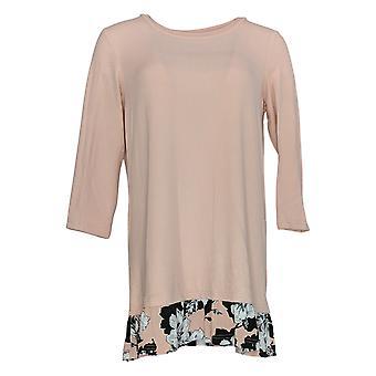 Nina Leonard Women's Top Soft Knit Floral Printed Tunic Pink 642-907