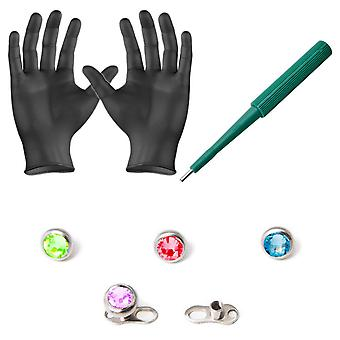 Piercing kit dermal anchors tops dermal bases puncher and  gloves 8 pieces bj17804