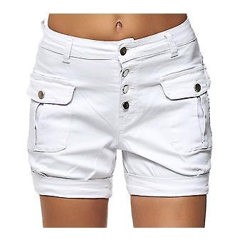 Damen Chino Jeans Shorts Cargo Stil Fronttaschen Hose Kurz Denim Freizeit Casual