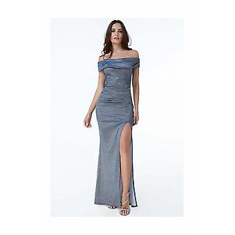 Off-shoulder winterblue side slit maxi dress