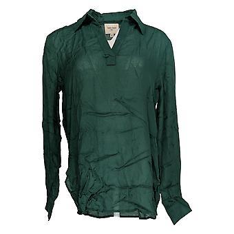 Haute Hippie Women's Top V-Neck Pullover Blouse Green A370024