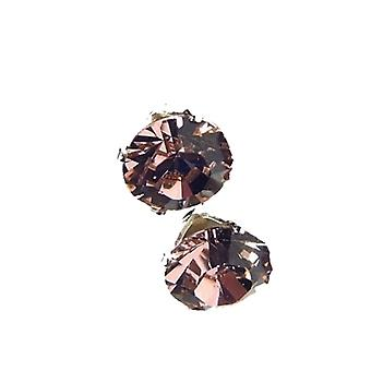 Sterling Silver Unisex Studs Earrings 2 Carat Swarovski Crystal - Vintage Rose