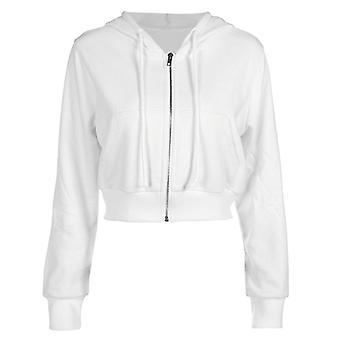 Zip-up Autumn Winter Women Hoodies, Pockets Slim Crop Jacket, Female Clothes