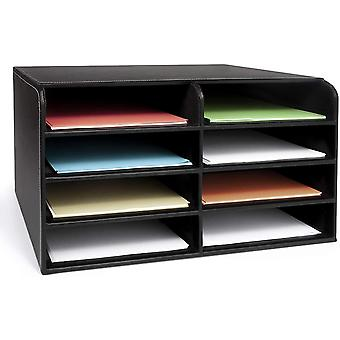 EHC Faux Leather Large Desktop File Sorter A4 Office Home Document Organiser Storage