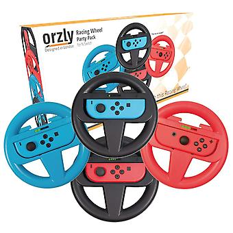 Orzly steering wheels for nintendo switch - party pack of four racing wheels for use with mario kart