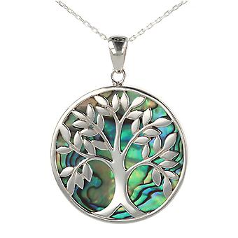 ADEN 925 Sterling Silver Abalone Mother-of-Pearl Tree of Life Round Shape Pendant Necklace (id 4096)