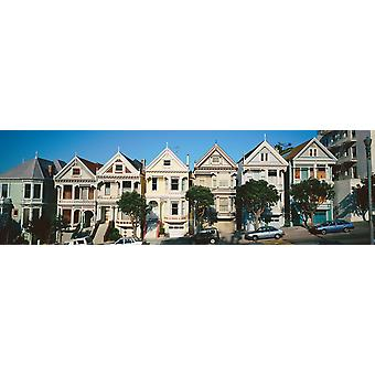 Row of Victorian homes San Francisco California Poster Print