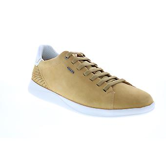 Geox U Kennet  Mens Yellow Suede Lace Up Euro Sneakers Shoes