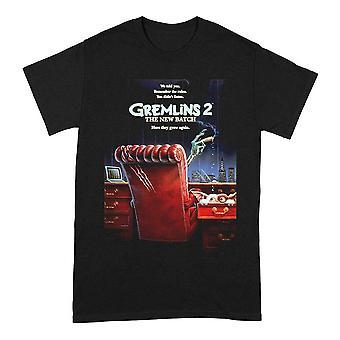 Men's Gremlins 2 The New Batch Poster Crew Neck Black T-Shirt