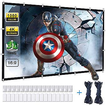 120 Inch Projector Screen, 16:9 HD 4K Anti-Crease Portable Projector Screen