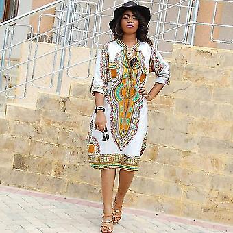 Sexy Tight Folk Style Classic High Elastic Stamp Slim V Collar Dress