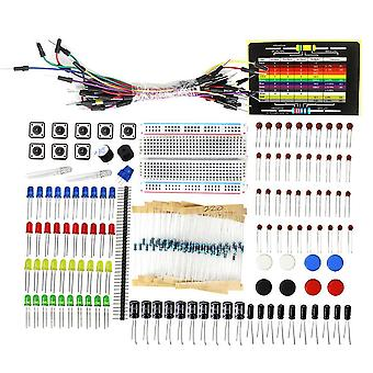 Electronic Component Starter Kit, Capacitor Breadboard Led Buzzers Resistor Set
