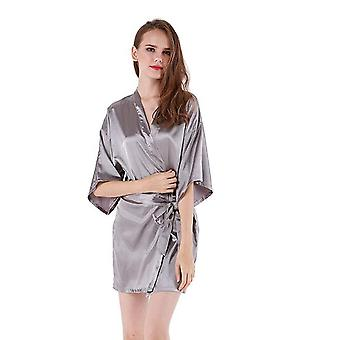 Frauen's Satin Hochzeit Kimono Braut Robe Sleepwear Brautjungfer Pyjamas Bademantel