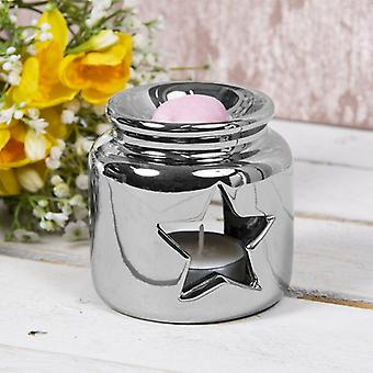 Ceramic Wax Oil Warmer Silver Star By Lesser & Pavey