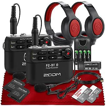 Zoom f2 ultracompact portable field recorder with lavalier microphone basic accessories bundle with bluetooth, lavalier microphone, studio ps11463