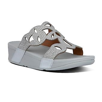 Fit Flop Womens Elora Crystal Leather Slider Sandálias