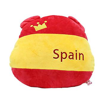 Spain Flag Bear Plush Lumbar Pillow