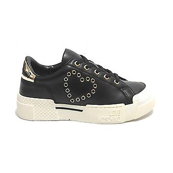 Damen Schuhe Love Moschino Sneaker Schwarz Leder Ds21mo15 Ja15425