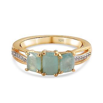Grandidierit, weiß Zirkon drei Stein Ring für Frauen vergoldet Silber 2,64ct