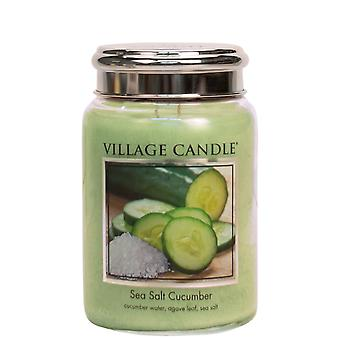 Village Candle 26oz Scented American Large Jar Candle with Double Wick Sea Salt Cucumber