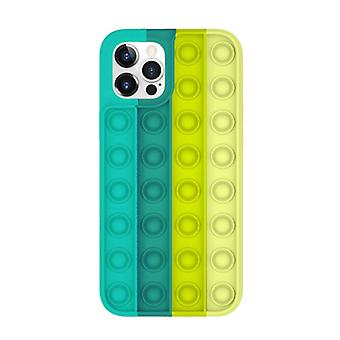 Lewinsky iPhone 12 Pro Pop It Case - Silicone Bubble Toy Case Anti Stress Cover Green