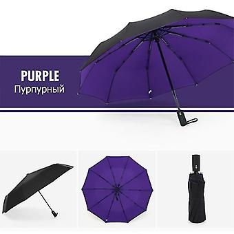 Windproof Automatic Double Umbrella Rain(Purple)