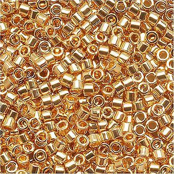 Perles de graines Miyuki Delica, taille 15/0, 4 grammes, 24 karat plaqué or DBS031