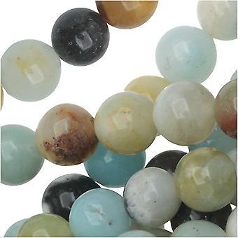 Dakota Stones Gemstone Beads, Black and Gold Amazonite, Round 6mm, 8 Inch Strand