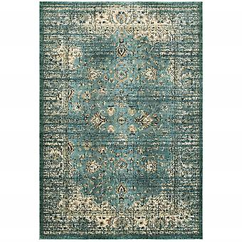 4' x 6' Peacock Blue and Ivory Indoor Area Rug