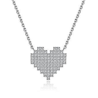 GemShadow Heart Sterling 925 Silver Necklace with Cubic Zirconia Complete Valentine Jewelry for Women