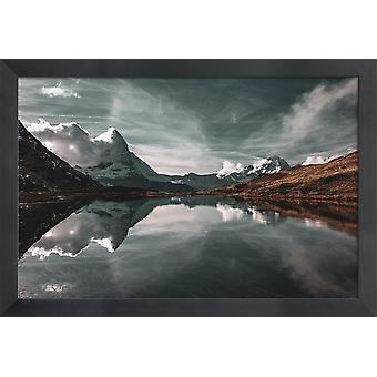 JUNIQE Print - Frozen In Motion @BernhardKlar - Mountains Poster in Brown & Grey