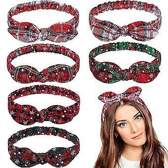 5Pcs fascia per capelli di Natale fascia per capelli donna elastico orecchie di coniglio anello testa