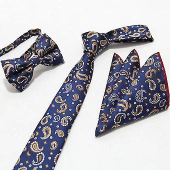 Sininen & oranssi Paisley tasku neliön keula solmio & kravatti