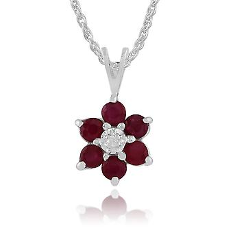 Floral Round Ruby & Diamond Pendant Necklace in 9ct White Gold 181P0625059