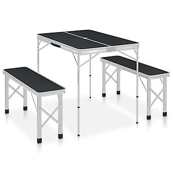 Camping table Foldable With 2 Benches Aluminium Grey