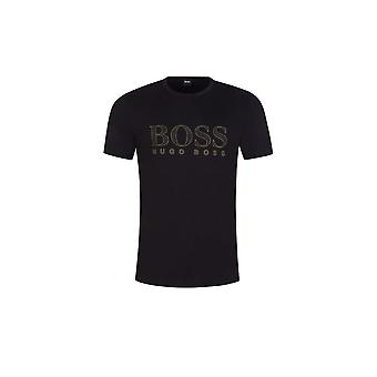 هوغو بوس تي الذهب 3 القطن الأسود تي شيرت