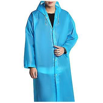 Regnrock Eva Rain Poncho för kvinnor och män, återanvändbar regnrock (blå)