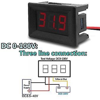 0.36Inch mini digital voltmeter dc 3v to 32v digital voltmeter 0-100v voltage panel meter red electromobile motorcycle car