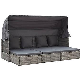 vidaXL lit de jardin avec toit gris mélangé 200 x 60 x 124 cm poly rotin