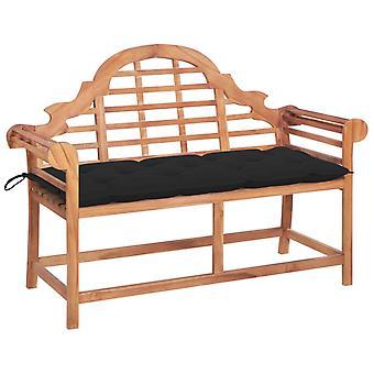 vidaXL garden bench with black pad 120 cm solid wood teak