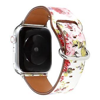 Horlogeband voor Apple Watch Series 5 en 4 44 mm / 3 & 2 en 1 42 mm wit roze bloemen